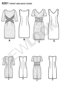 6261 New Look Pattern Misses Dress with Neckline Variations